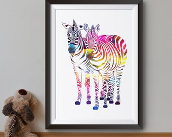 Two Zebras Art Print - Colorful Zebra Poster -  Animal Illustration - Colorful Wall Art - Home Decor