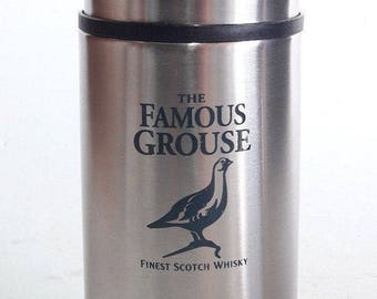 The Famous Grouse Whisky Advertising Thermos St/Steel Promotional Thermo Vtg Scotch Whisky Collectible Advertising