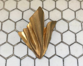 Vintage Sonia Rykiel Paris Gold Metal Sculptural Moderenist Brooch