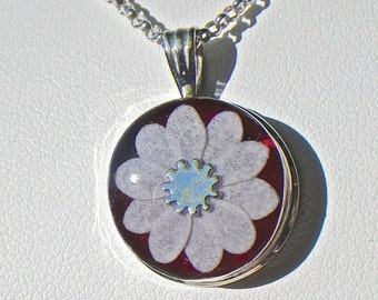 Red and White flower sterling silver pendant