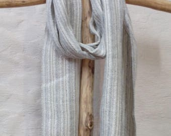 Linen Scarf Hand Woven Linen Scarf White Grey Scarf Gift for Women for Men