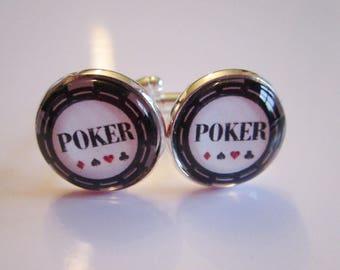 """Poker"" cuff links, silver, cabochon"