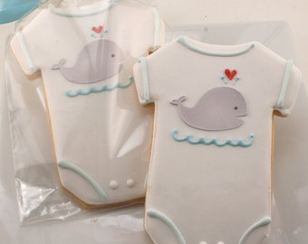 Baby Cookies, Whale Cookies, Baby Shower Favors - 12 Decorated Sugar Cookie Favors