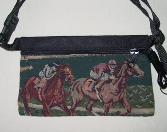 Horse Race and Rider Travel-Lite Hip Pack Equestrian Handbags