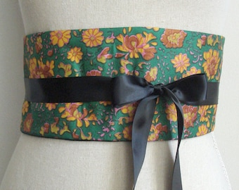 "BLUE OBI BELT ""waves ant japanese fish"""