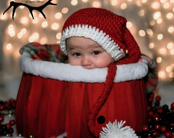 Baby Elf Hat,  Long Tail Hat, Baby Shower Gift, Photo Prop, Christmas Hat, Candy Cane Stripes, Fairy, Faerie, Pixie