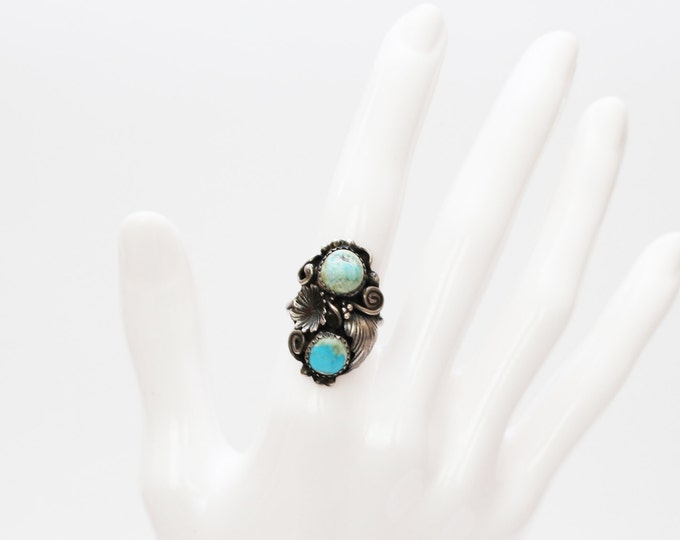 Navajo Sterling Silver Turquoise Ring - Size 6 Silver Ring - Vintage 1960s Silver Floral Stone Ring by Lucy Calladitto