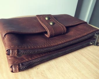 Beautiful luxurious leather & cow hide wallet.Wristlet and two generous pockets on either side.Lots of room for cards and coins.