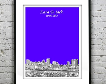 Baltimore Wedding Guest Book Guestbook Poster Print -Baltimore City Skyline Maryland MD