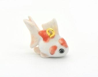 Miniature Ceramic Goldfish Charm or Glass Terrarium Glass Filler Hand Painted Porcelain Charm Terrarium Supplies Jewelry Supplies (AT091)