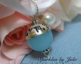 Something Blue Bouquet Charm - FANCY EDITION, Aqua Chalcedony Gemstone, Hand stamped, personalized sterling silver bead cap, Bride, Wedding