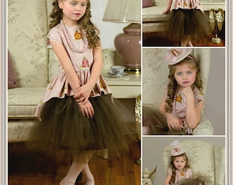Tea Party Dress - Little Girls Pink Dress - High Tea - Tea Cup Fascinator Hat - Tea Party Birthday - Pink and Gold - Toddler - 2T - 10 yrs