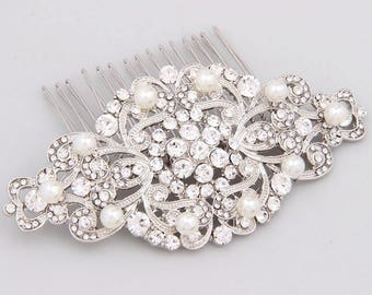 Bridal Hair Comb, Pearl Hair Comb, Crystal Wedding Comb, Wedding Hair Accessories, Bridal Hair Piece, Silver Bridal Headpiece, Bridal Comb