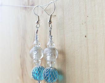 Silver and Blue Bead Earrings