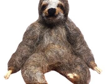 Needle Felted Sloth: Alpaca Fiber Soft Sculpture