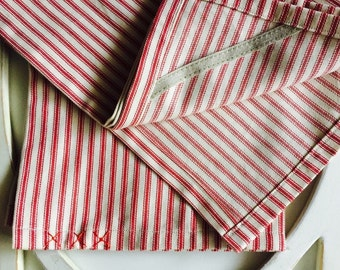 Ticking Dish Towel Set (2), Tea Towels, Kitchen Towels, Hand Towels, Cotton Towels, French Red Ticking Towels
