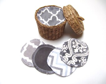 Reusable Facial Rounds, 60 GREY Mix Cosmetic Rounds, Makeup Remover Pads, Eco-Friendly Face Scrubbies, Add on Wash Bag