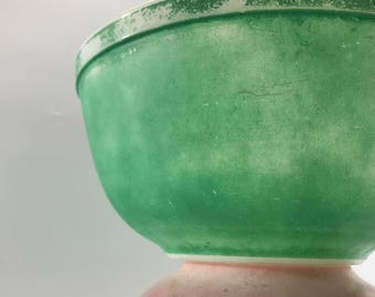 Pyrex Nesting Bowls Vintage Primary Green Color Mixing Bowl Shabby Chic Style Green Mixing Bowl Pyrex Collector retro style kitchen decor