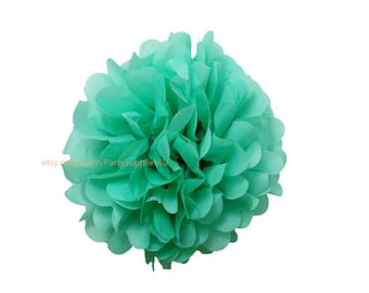 Turquoise Tissue Paper Pom Poms * 1 Small 6 inch Tissue Paper Flowers For Wedding Nursery Shower Party Decoration