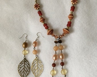 Handmade Artisan Jewelry Beaded Necklace & Earrings Earth Tones Aztec Pattern