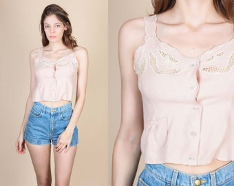 90s Boho Bali Cut Out Crop Top - XXS // Vintage Hippie Pink Button Up Blouse