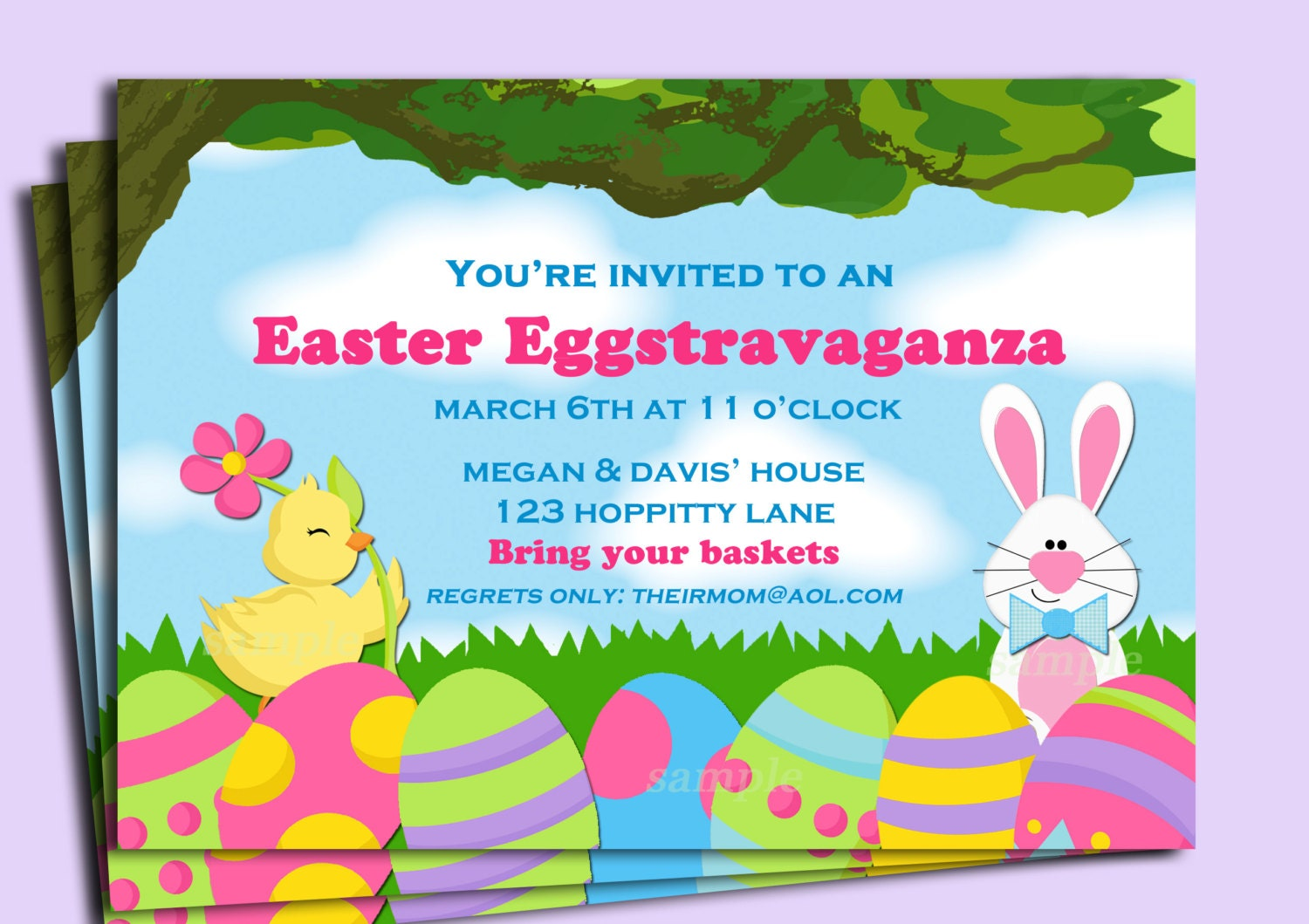 Easter egg invitation printable or printed with free shipping zoom stopboris Image collections