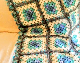 Crochet Afghan, Granny Square pattern, Gray, Turquoise, Lap Afghan, country decor, farmhouse