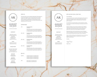 Resume Template | CV Template + Cover Letter Template for MS Word | Minimal | Professional | Instant Download