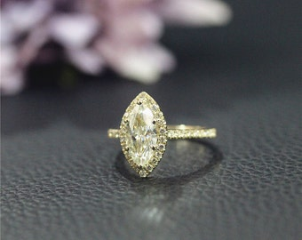 Solid Yellow Gold Engagement Ring 14K Charles & Colvard Marquise Moissanite Engagement Ring Wedding Ring Anniversary Ring Stack-able Ring