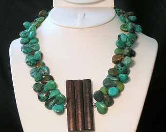 """Turquoise and Wood Statement Set - """"Turq and Caicos"""""""