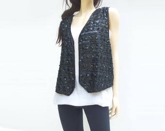 Vintage Vest Black Vest Sequin Vest 80s Vest Beaded Vest Silk Vest Plus Size L, XL, 1X