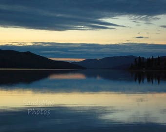 Cool Blue Sunset, Fox Lake Yukon, Summer blues, Soft blue light at dusk, Soothing Calm, Abstract, Waterscape, Landscape photography