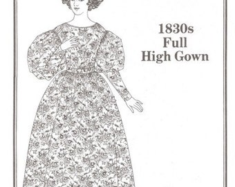 PP003 - Past Patterns #003, 1830's Full High Gown Sewing Pattern