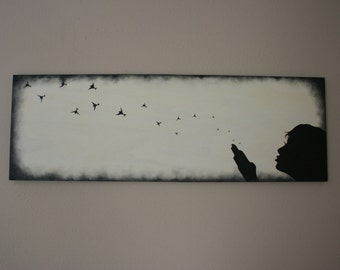 """SALE! Custom silhouette painting on stained wood panel, 12""""X36"""""""