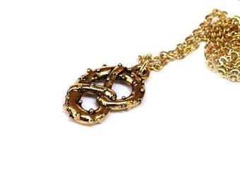 Gold plated Pretzel Necklace, Pretzel Necklace, Pretzel charm, Gold plated pewter charm, Food Necklace, Pretzel Pendant, Gold plated Pretzel