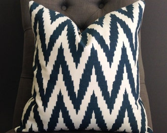 Pillow Cover, Teal Blue Chevron Pillow Cover - ELM
