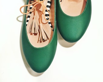 GREEN BALLET FLATS  -Pink and green - Leather Ballerinas - Genuine Leather - Mina Shoes Mexico - Style Name: NeoMerlina
