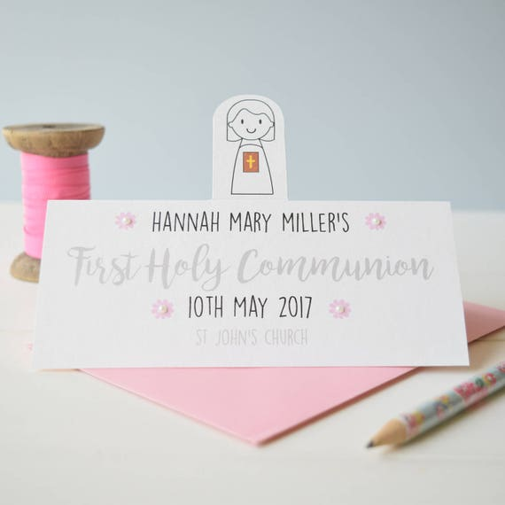 Personalised First Holy Communion Card for a girl
