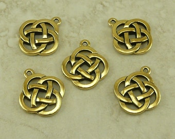 5 TierraCast Open Round Celtic Knot Pendant Charm > Irish St Patrick's Day - 22kt Gold Plated Lead free Pewter - I ship internationally 7505