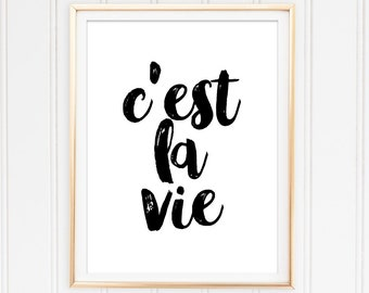 Printable Art French Quote C'est La Vie Instant Download Digital Wall Art French Poster Dorm Decor French Art C'est La Vie Quote