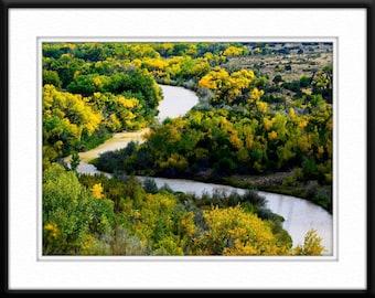 Autumn Rio Grande River Abiquiu New Mexico Color Green Gold Digital Photography Art Print