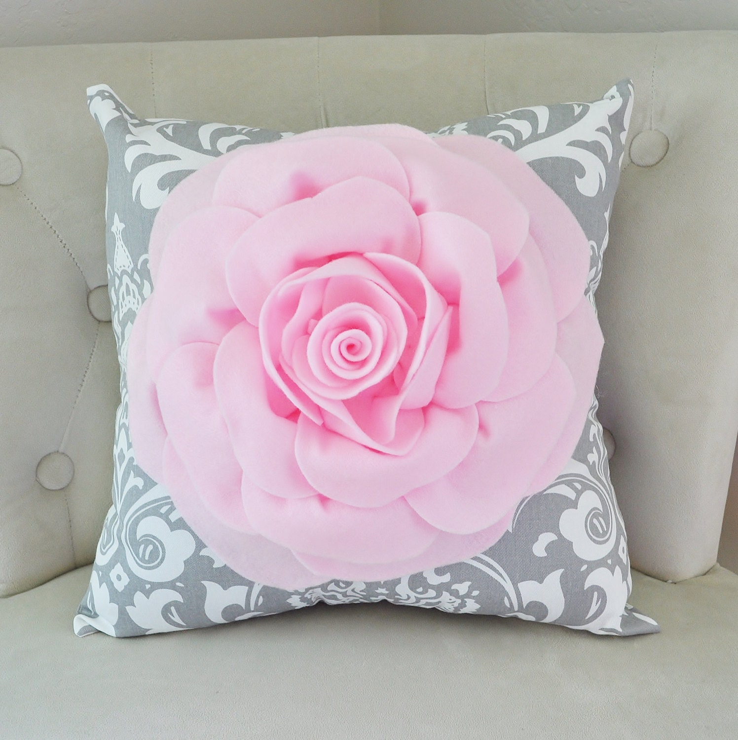 Damask Pillow Light Pink Rose On Gray And White Damask