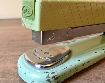 Vintage Ace Dart Stapler Sea Foam Blue & Avacado Green Rare