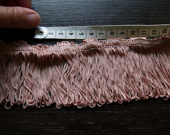 Vintage Dusky pink fringe trim, 5.3 yards, 4.92 meters