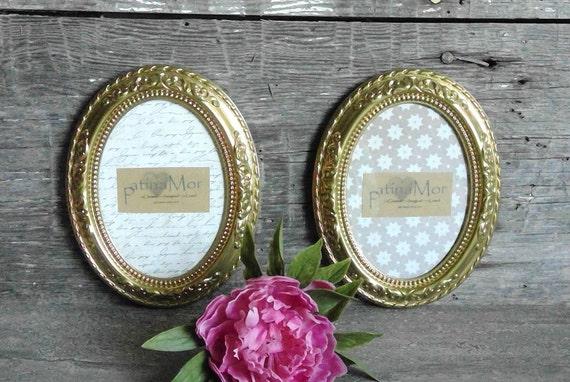5 x 7 oro Marcos ovalados, conjunto de 2 marcos ornamentales con ...