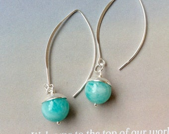 Arc Amazonite Earrings, Superior Quality Amazonite Earrings, sterling silver earrings, Blue Gemstone Earrings,  natural blue gemstones