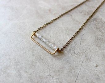 Rectangle Brass + Moonstone Necklace