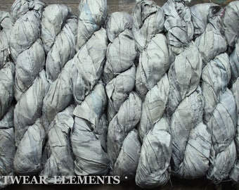 Pure Sari Silk, Medium Silver Gray Goose, Per 100g Skein, Recycled Sari Silk, Fair Trade, Fabric, Ribbon, Yarn, Silk, ArtWear Elements, 302b
