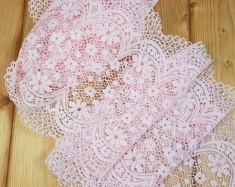 Angel Pink 21 cm wide Crochet Look Stretch lace by the meter