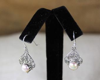 Pearl earrings, drop earrings, sterling silver earrings, dangle earrings